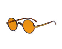 Round Blue Light Blocking Glasses Women Men - Cut UV Ray Anti Screen Glare Nighttime Computer Eyeglasses Reading Glasses with Orange Tinted Filter Lens - Brown/Tortoise DS077BX