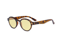 Round Blue Light Blocking Glasses Women Men - Anti UV Ray Cut Digital Screen Glare Oval Computer Eyeglasses Reading Glasses with Yellow Filter Lens - Tortoise TM070