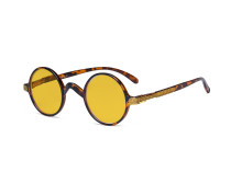 Round Blue Light Blocking Glasses Women Men - Cut UV Ray Anti Screen Glare Computer Eyeglasses Reading Glasses with Amber Tinted Filter Lens - Brown/Tortoise HP077BX