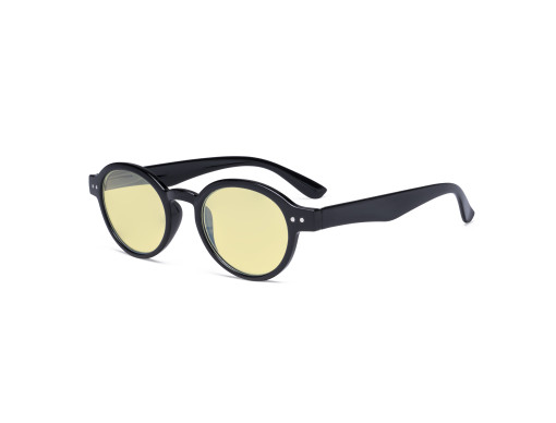 Round Blue Light Blocking Glasses Women Men - Anti UV Ray Cut Digital Screen Glare Oval Computer Eyeglasses Reading Glasses with Yellow Filter Lens - Black TM070
