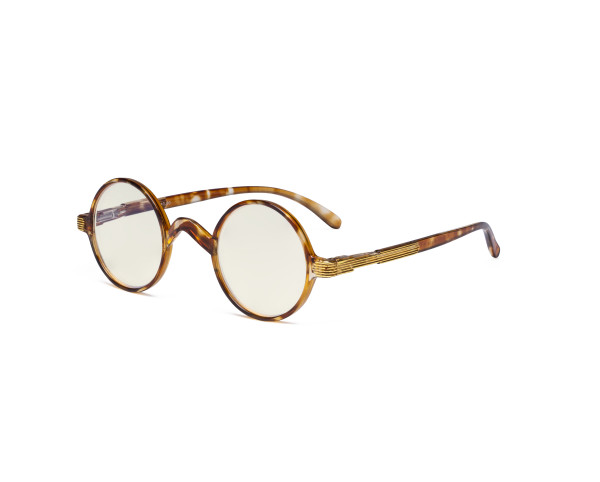 Round Blue Light Filter Glasses Women Men - Blocking UV Ray Anti Screen Glare Computer Eyeglasses Reading Glasses- Transparent/Tortoise UVR077BX