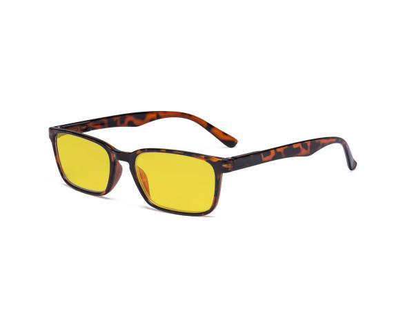 Design Blue Light Blocking Glasses Women Men - Anti UV Ray Cut Digital Screen Glare Computer Eyeglasses Reading Glasses with Amber Tinted Filter Lens - Tortoise HP898