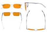Design Blue Blocking Glasses for Women Men Improve Nighttime Sleeping - Anti UV Light Cut Digital Screen Glare Computer Eyeglasses Reading Glasses with Orange Tinted Filter Lens - Transparent DS898