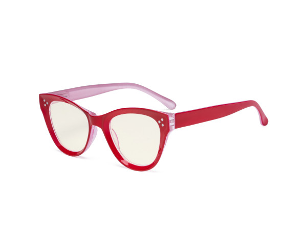 Oversized Blue Light Filter Glasses Women - Blocking UV Ray Anti Screen Glare Cat Eye Computer Eyeglasses Reading Glasses - Red UVR9108