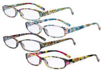 Small Reading Glasses Women - Floral Pattern Readers for Women Reading R9104F-4pcs-Mix