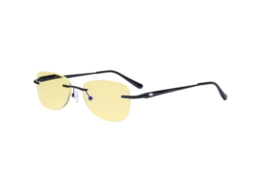 Rimless Digital Blue Light Glasses Women - Blocking UV Ray Anti Screen Glare Computer Eyeglasses Reading Glasses with Yellow Filter Lens - Black TMWK9907A