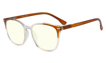 Oversize Blue Light Filter Glasses Women - Anti Digital Glare UV Ray Computer Eyeglasses Reading Glasses - Brown UVR9001C