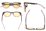 Stylish Blue Light Blocking Glasses Women - Anti Digital Glare UV Ray Round Computer Eyeglasses Reading Glasses with Yellow Filter Lens - Tortoise/Pink TMCG060