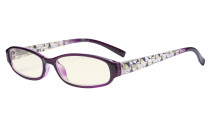 Small Lens Blue Light Filter Glasses Women - Anti Digital Glare Blocking UV Rays Reduce Eye Strain Computer Eyeglasses Reading Glasses- Purple Frame UVRT9104T