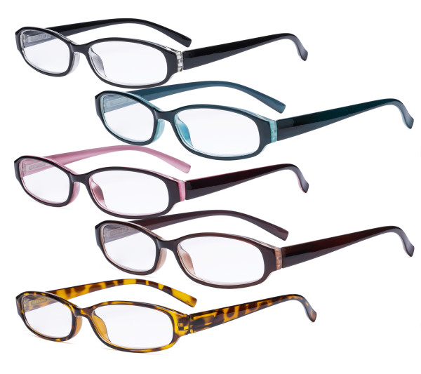 5 Pack Reading Glasses - Great Value Small Readers for Women Reading R9104K-5pcs-Mix