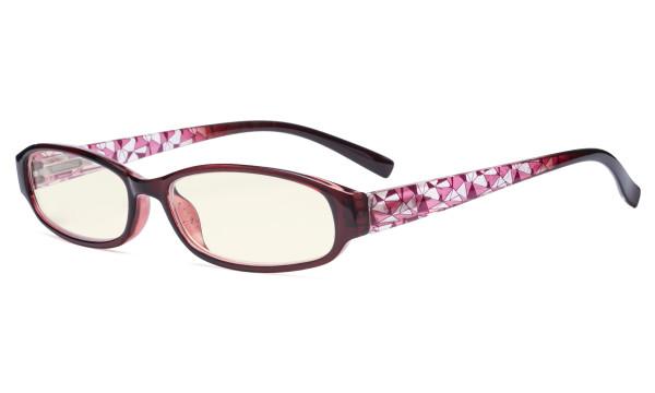 Small Lens Blue Light Filter Glasses Women - Anti Digital Glare Blocking UV Rays Reduce Eye Strain Computer Eyeglasses Reading Glasses- Red Frame UVRT9104T