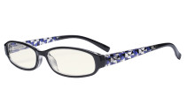 Small Lens Blue Light Filter Glasses Women - Anti Digital Glare Blocking UV Rays Reduce Eye Strain Computer Eyeglasses Reading Glasses- Black Frame/Blue Arm UVRT9104T