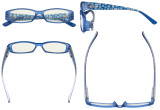 Blue Light Filter Glasses Women - Blocking UV Rays Anti Digital Glare Computer Eyeglasses Reading Glasses with Pattern Arms and Crystals Matte Blue UVR081X
