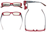 Blue Light Filter Glasses Women - Blocking UV Rays Anti Digital Glare Computer Eyeglasses Reading Glasses with Pattern Arms and Crystals Matte Red UVR081X