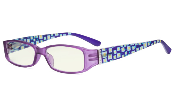 Blue Light Filter Glasses Women - Blocking UV Rays Anti Digital Glare Computer Eyeglasses Reading Glasses with Pattern Arms and Crystals Matte Purple UVR081X