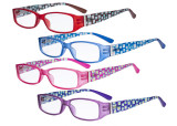 4 Pack Ladies Reading Glasses Eyeglasses - Stylish Readers for Women Reading with Pattern Arms and Crystals R081X-4pcs-Mix