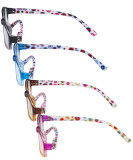 4 Pack Ladies Eyeglasses Reading Glasses- Cute Eyewears with Colorful Polka Dots Patterned Temple for Women R908PC-4pcs-Mix