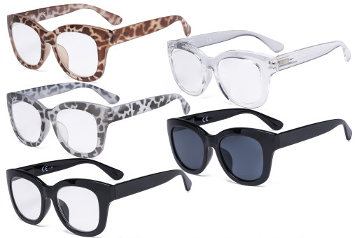 5 Pack Oversized Eyewear Reading Glasses - Retro Readers for Women Reading FH1555-5pcs-Mix