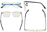 Blue Light Filter Glasses Men Women - Blocking UV Rays Anti Screen Glare Retro Computer Reading Eyeglasses - Transparent Frame UVRJ003