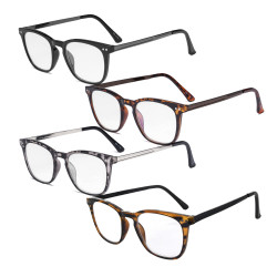4 Pack Reading Glasses - Retro Design Reader Eyeglasses for Men Women Reading RJ003-4pcs-Mix