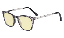 Blue Light Blocking Glasses Men Women - Anti Glare UV Ray Retro Computer Eyeglasses Reading Glasses with Yellow Filter Lens - Grey/Tortoise Frame TMRJ003