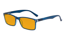 Nighttime Better Sleep Computer Glasses - Blue Light Blocking Eyewear Reading Glasses with Orange Tinted Filter Lens - Anti Screen Glare UV Ray Digital Eyeglasses - Blue DS802