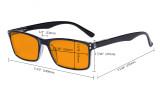 Nighttime Better Sleep Computer Glasses - Blue Light Blocking Eyewear Reading Glasses with Orange Tinted Filter Lens - Anti Screen Glare UV Ray Digital Eyeglasses - Black DS802