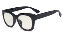 Oversized Blue Light Filter Glasses Women - Blocking UV Ray Anti Screen Glare Computer Eyeglasses Reading Glasses - Black Frame UV1555