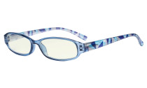 Small Lens Blue Light Filter Glasses Women - Anti Digital Glare UV Ray Computer Eyeglasses Reading Glasses with Yellow Filter Lens Pattern Arms - Blue UVR9104G