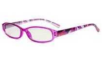 Small Lens Blue Light Filter Glasses Women - Anti Digital Glare UV Ray Computer Eyeglasses Reading Glasses with Yellow Filter Lens Pattern Arms - Purple UVR9104G