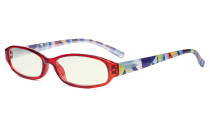 Small Lens Blue Light Filter Glasses Women - Anti Digital Glare UV Ray Computer Eyeglasses Reading Glasses with Yellow Filter Lens Pattern Arms - Red UVR9104G