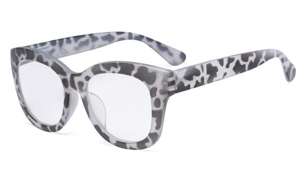 Oversized Glasses - Retro Eyeglasses Reading Glasses for Women - Grey/Tortoise Frame FH1555