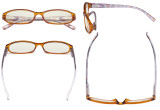 Small Lens Blue Light Filter Glasses Women - Anti Digital Glare UV Ray Computer Eyeglasses Reading Glasses with Yellow Filter Lens Pattern Arms - Brown UVR9104G