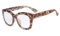 Oversized Glasses - Retro Eyeglasses Reading Glasses for Women - Brown/Tortoise Frame FH1555