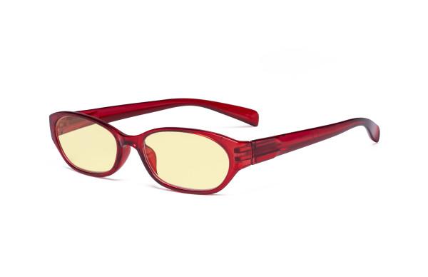 Blue Light Blocking Glasses Anti Glare Cut UV Rays -  Yellow Tint Filter Lens Digital Eyeglasses for Women Reading Computer Screen - Red TM9101
