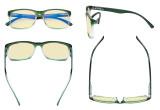 Blue Light Glasses - Design Computer Eyeglasses Reading Glasses with Yellow Filter Lens for Men Women Anti Screen Glare Blocking Digital UV Rays - Green TM1805
