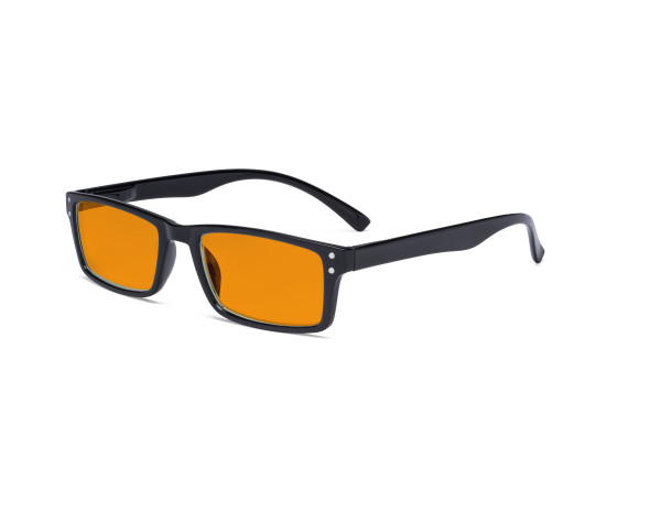 Blue Light Blocking Glasses - Anti Digital Glare Eyewears with Orange Tinted Filter UV Protection Nighttime Computer Eyeglasses Reading Glasses Men Women - Black DS057