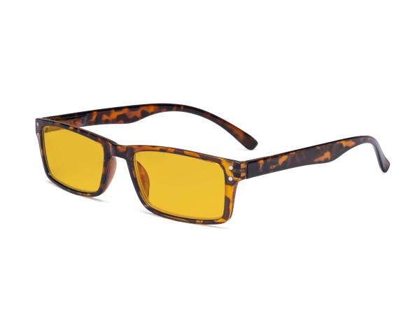 Blue Light Blocking Glasses - Anti Digital Glare Eyewears with Amber Tinted Filter UV Protection Computer Eyeglasses Reading Glasses Men Women - Tortoise HP057