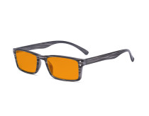 Blue Light Blocking Glasses - Anti Digital Glare Eyewears with Orange Tinted Filter UV Protection Nighttime Computer Eyeglasses Reading Glasses Men Women - Grey Stripe DS057