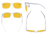 Blue Light Glasses - Design Computer Eyeglasses Reading Glasses with Amber Tinted Filter Lens for Men Women Anti Screen Glare Blocking Digital UV Rays - Transparent HP1805
