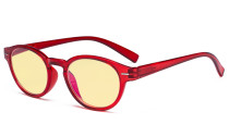 Round Blue Light Blocking Glasses - Oval Computer Eyeglasses Reading Glasses Women Anti Screen UV Rays - Blocking Digital Glare with Yellow Tint Filter Lens - Red TM091