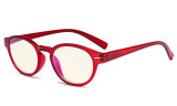 Round Blue Light Filter Glasses - Oval Computer Eyeglasses Reading Glasses Women Anti Screen UV Rays - Blocking Digital Glare with Transparent Blue Lens - Red UVR091