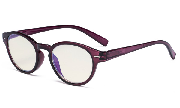 Round Blue Light Filter Glasses - Oval Computer Eyeglasses Reading Glasses Women Anti Screen UV Rays - Blocking Digital Glare with Transparent Blue Lens - Purple UVR091