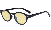 Round Blue Light Blocking Glasses - Oval Computer Eyeglasses Reading Glasses Women Anti Screen UV Rays - Blocking Digital Glare with Yellow Tint Filter Lens - Black TM091