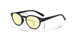 Round Blue Light Blocking Glasses - Oval Computer Eyeglasses Reading Glasses Women Anti Screen UV Rays - Blocking Digital Glare with Yellow Tint Filter Lens - Transparent TM091