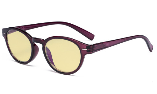 Round Blue Light Blocking Glasses - Oval Computer Eyeglasses Reading Glasses Women Anti Screen UV Rays - Blocking Digital Glare with Yellow Tint Filter Lens - Purple TM091