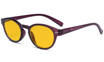 Round Blue Blocking Glasses for Women Reading Computer Screen - Anti Digital Glare Blue Light Filter Eyewears with Amber Tinted Eyeglasses - Purple HP091