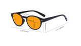 Round Blue Blocking Glasses for Women Nighttime Reading Computer Screen - Anti Digital Glare Blue Light Filter Oval Eyewears with Orange Tinted UV Protection Lens - Tortoise DS091