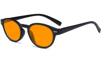 Round Blue Blocking Glasses for Women Nighttime Reading Computer Screen - Anti Digital Glare Blue Light Filter Oval Eyewears with Orange Tinted UV Protection Lens - Black DS091