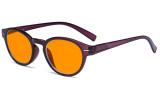 Round Blue Blocking Glasses for Women Nighttime Reading Computer Screen - Anti Digital Glare Blue Light Filter Oval Eyewears with Orange Tinted UV Protection Lens - Purple DS091